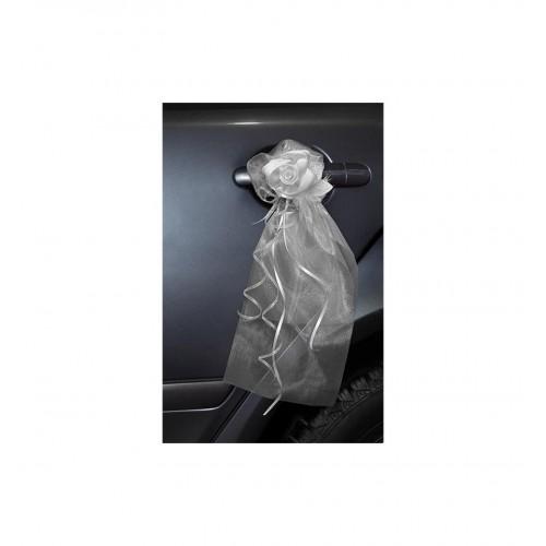 Białe bukieciki z organzy z satynowymi różami (2 sztuki)