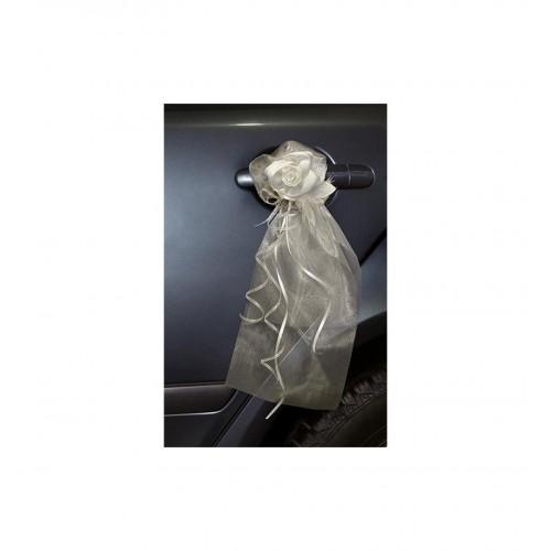 Kremowe bukieciki z organzy z satynowymi różami (2 sztuki)
