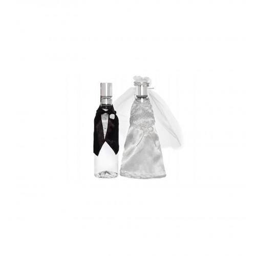Ubranka na wódkę - garnitur z czarną muszką i suknia