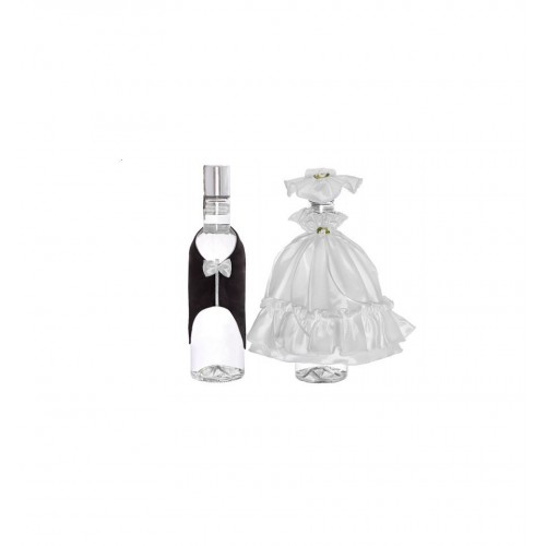 Ubranka na wódkę - frak z białą muszką i suknia