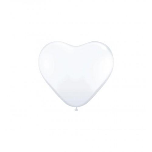 Balony w kształcie serca - białe - 25 cm (10 sztuk)