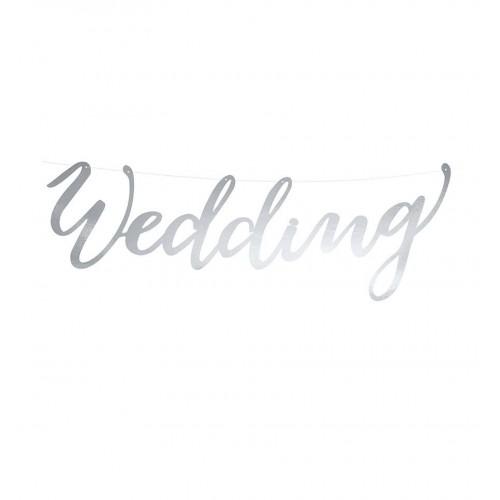 "Baner ""Wedding"" - srebrny"