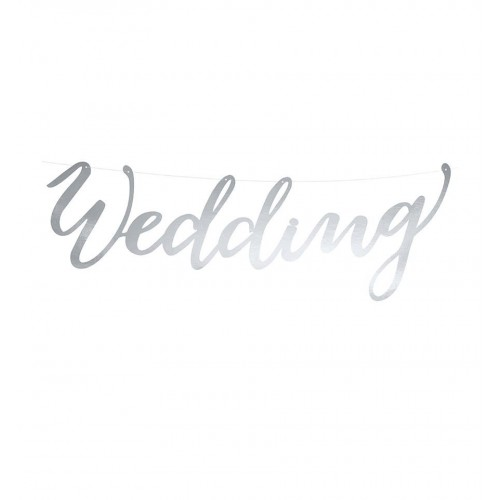 "Baner ""Wedding"" - srebrny"