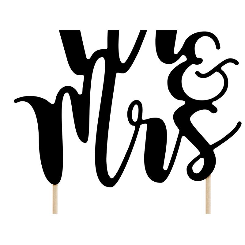 Topper na tort - czarne Mr&Mrs