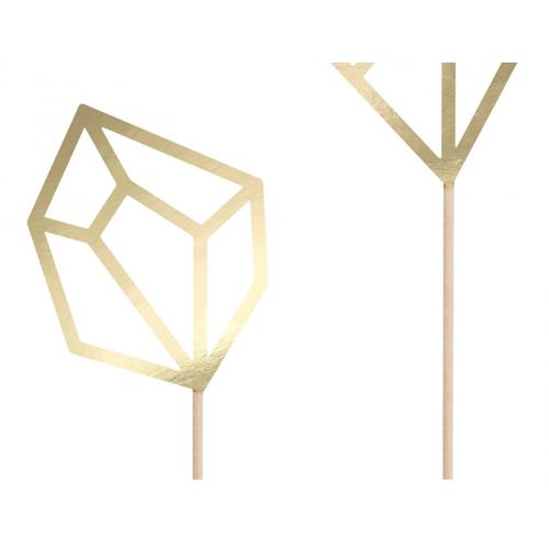 Topper na tort - złote kryształy