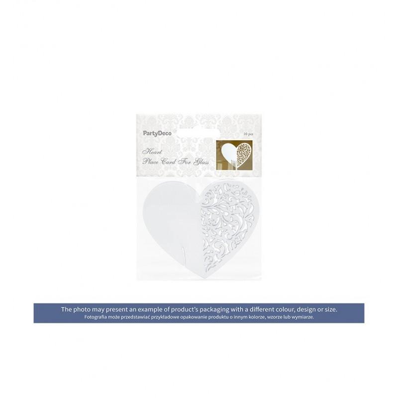Winietki w kształcie serca z ażurem zakładane na kieliszek (10 sztuk)