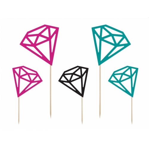 Topper na tort - kolorowe diamenty (5 sztuk)