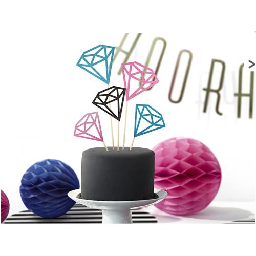 Topper na tort - kolorowe diamenty