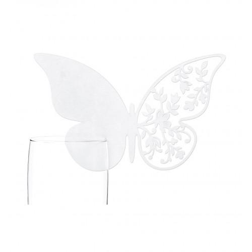 Winietki w kształcie motyla z kwiatowym ażurem zakładane na kieliszek (10 sztuk)
