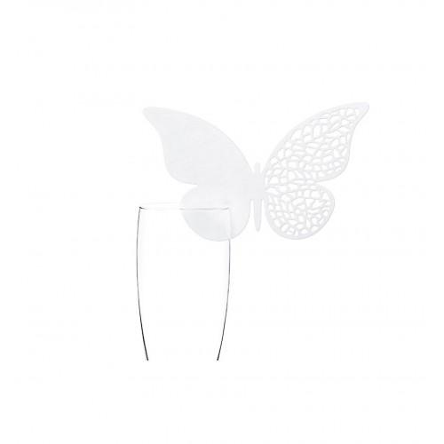 Winietki w kształcie motyla z ażurem zakładane na kieliszek (10 sztuk)