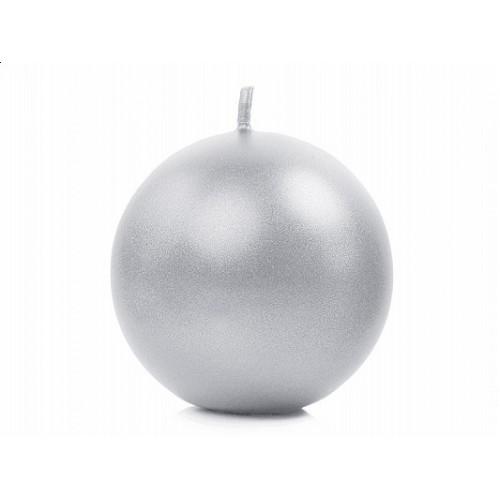 Metalizowana świeca kula - srebrny