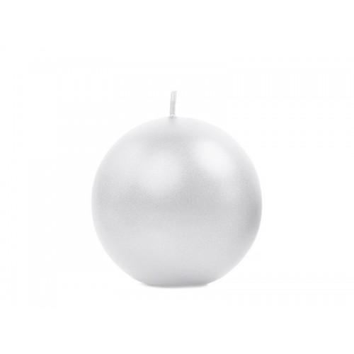 Metalizowana świeca kula - perłowy