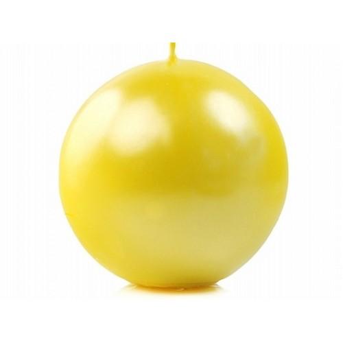 Metalizowana świeca kula - żółty