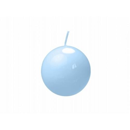 Lakierowana świeca kula - błękit