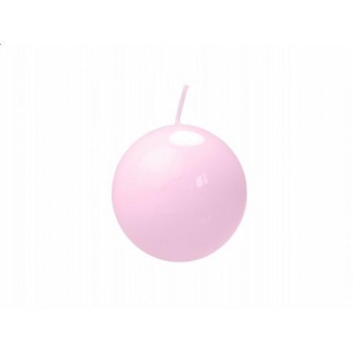 Lakierowana świeca kula - jasnoróżowy