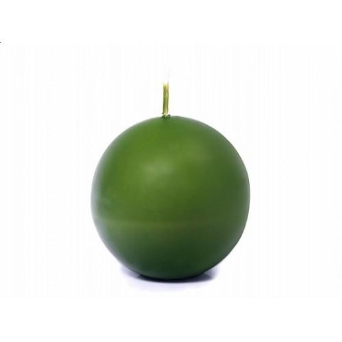 Matowa świeca kula - zielona oliwka