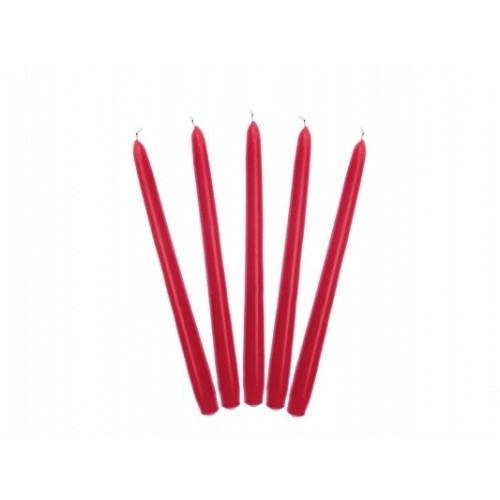 Matowa świeca stożkowa - czerwony (10 sztuk)