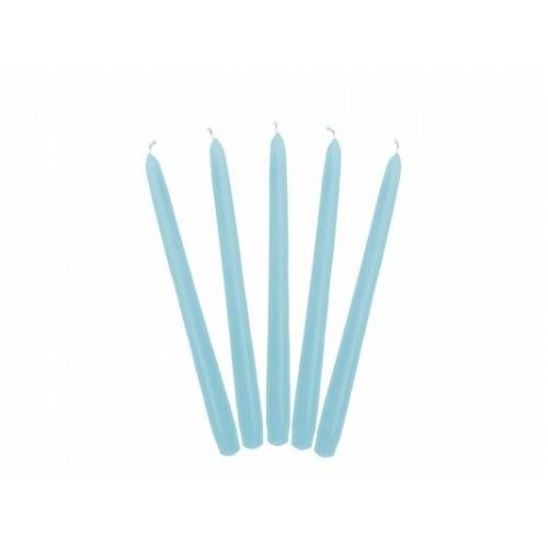 Matowa świeca stożkowa - błękit (10 sztuk)