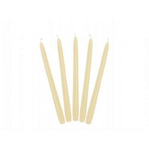 Matowa świeca stożkowa - krem (10 sztuk)