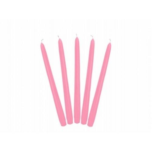 Matowa świeca stożkowa - jasno-różowy (10 sztuk)