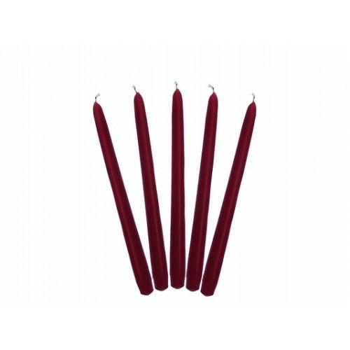 Matowa świeca stożkowa -bordo (10 sztuk)