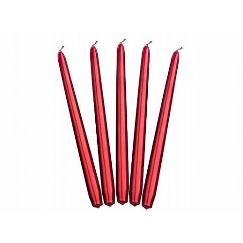 Metaliczna świeca stożkowa - czerwony (10 sztuk)