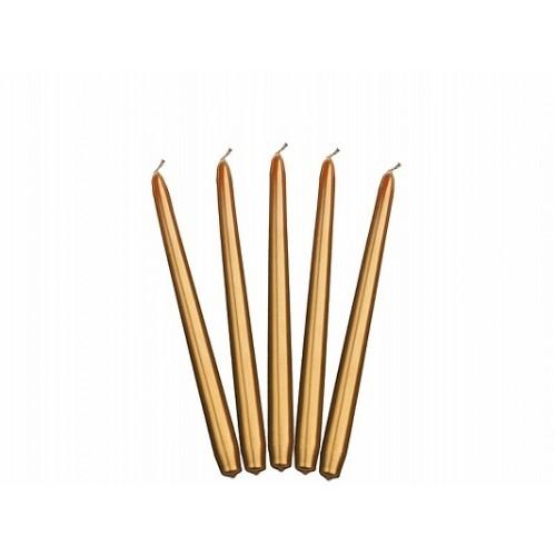 Metaliczna świeca stożkowa - złoty (10 sztuk)