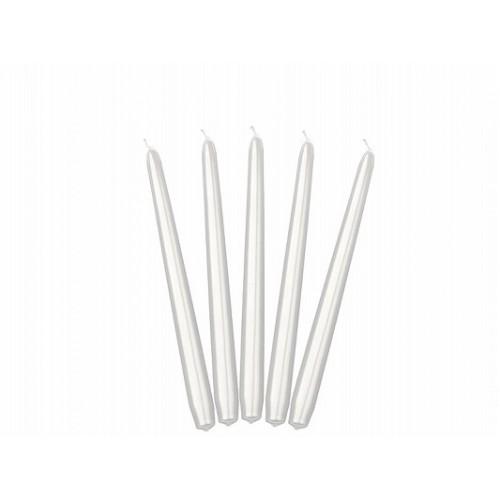 Metaliczna świeca stożkowa - perłowy (10 sztuk)