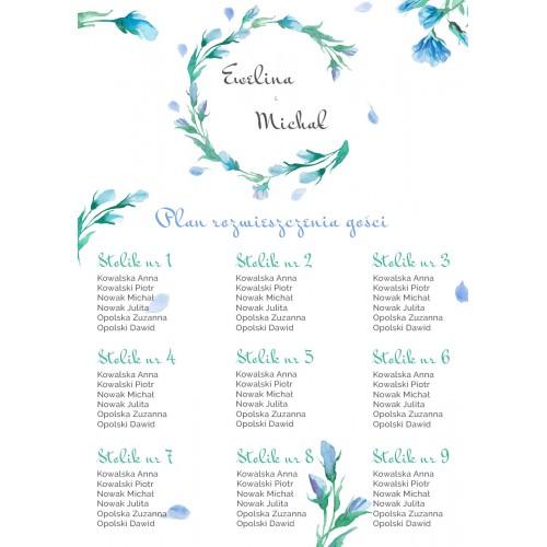 Plakat rozmieszczenia gości - Floral niebieski