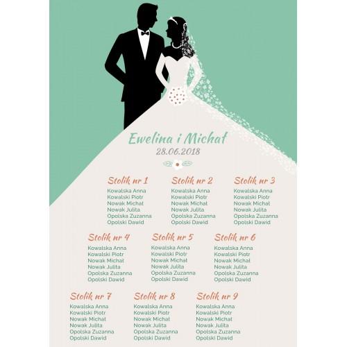 Plakat rozmieszczenia gości - Bride&Groom zielony