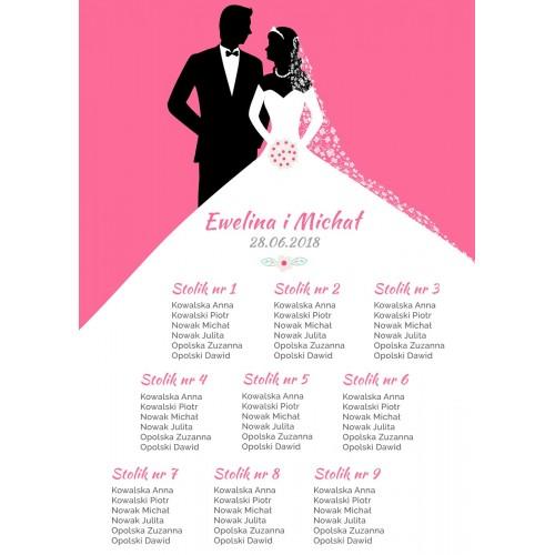 Plakat rozmieszczenia gości - Bride&Groom różowy