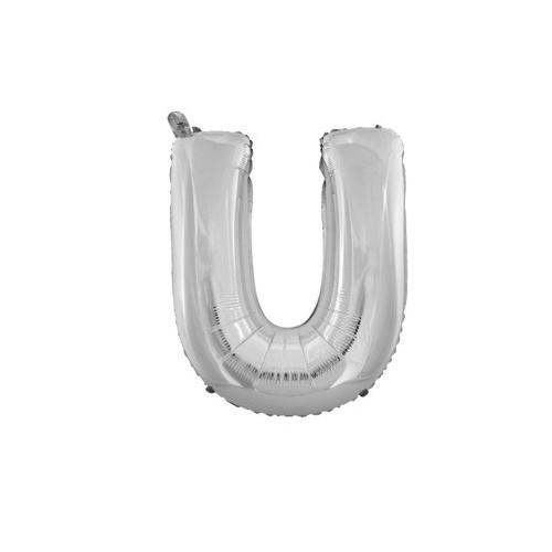 "Foliowy balon litera ""U"" - srebrny"