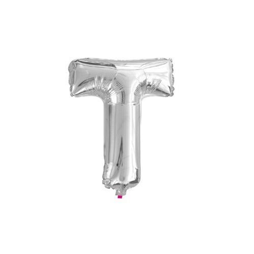 """Foliowy balon litera """"T"""" - srebrny"""