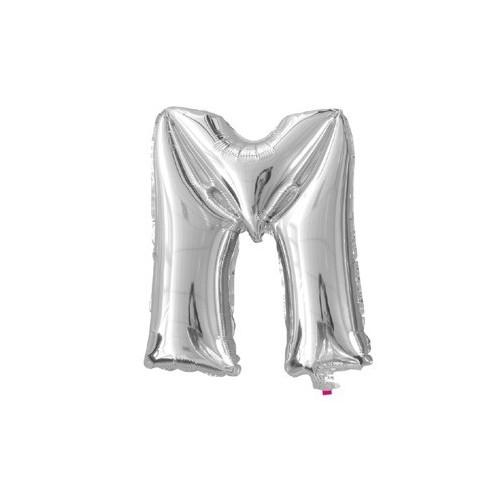"""Foliowy balon litera """"M"""" - srebrny"""