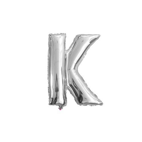 """Foliowy balon litera """"K"""" - srebrny"""