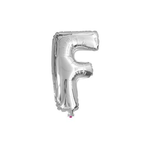 """Foliowy balon litera """"F"""" - srebrny"""