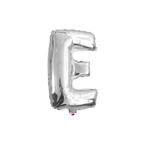 "Foliowy balon litera ""E"" - srebrny"