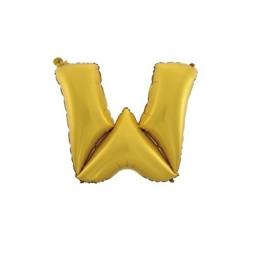"""Foliowy balon litera """"W"""" - złoty"""