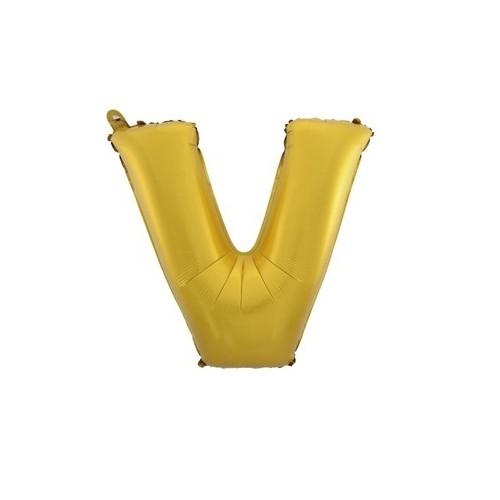 """Foliowy balon litera """"V"""" - złoty"""