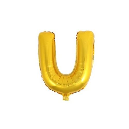 """Foliowy balon litera """"U"""" - złoty"""