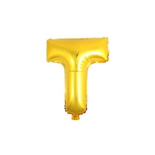 """Foliowy balon litera """"T"""" - złoty"""