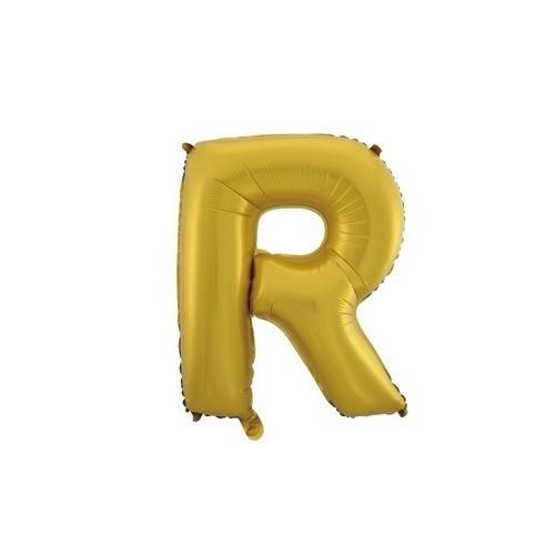 """Foliowy balon litera """"R"""" - złoty"""