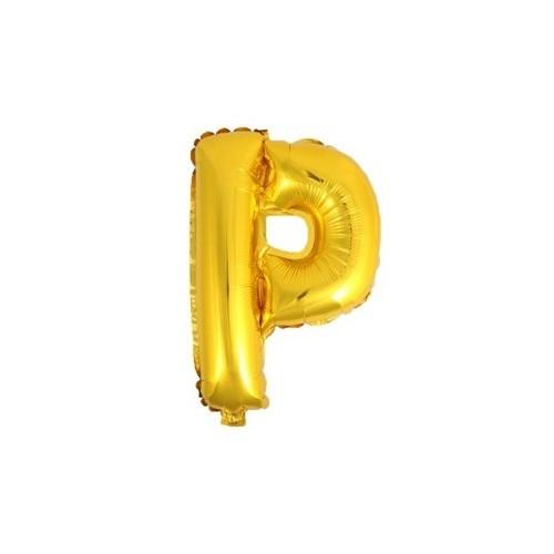 """Foliowy balon litera """"P"""" - złoty"""