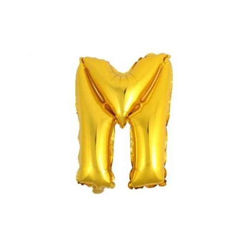 """Foliowy balon litera """"M"""" - złoty"""
