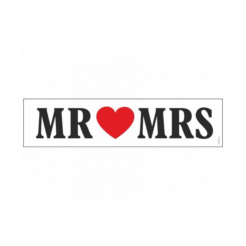 Biała tablica rejestracyjna - MR ♥ MRS