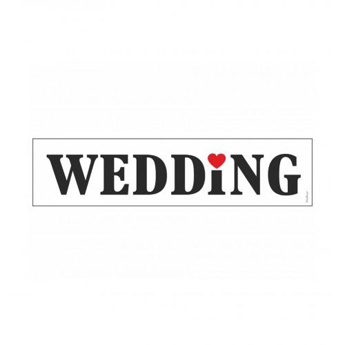 Biała tablica rejestracyjna - WEDDING