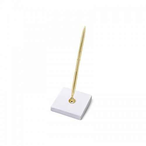 Stojaczek z perłowego papieru ze złotym długopisem
