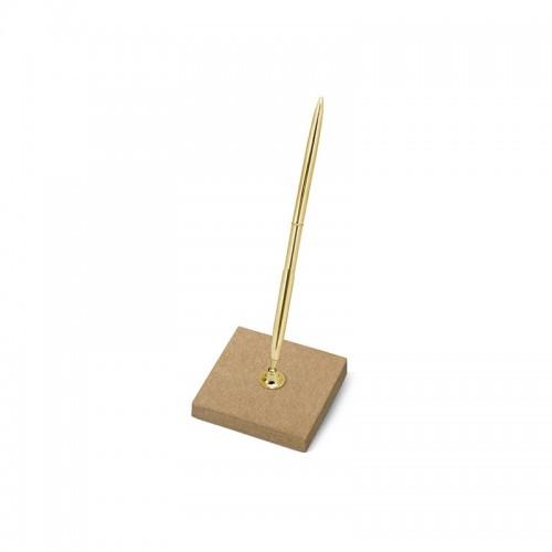 Stojaczek z papieru kraft ze złotym długopisem