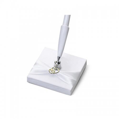 Stojaczek z perłowego papieru z serduszkiem z białym długopisem