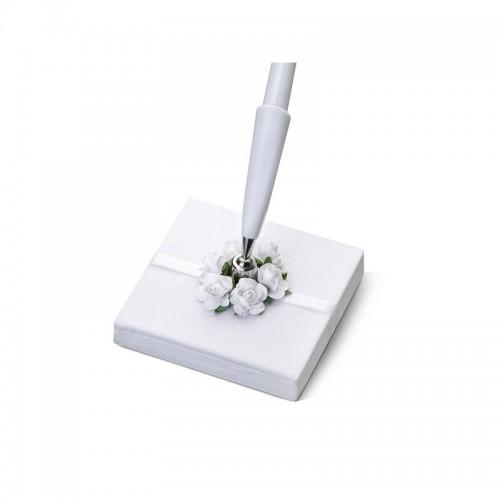 Stojaczek z perłowego papieru z różyczkami z białym długopisem